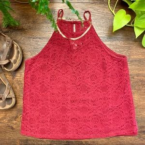 Monteau Red Lace Halter Neck Cropped Tank